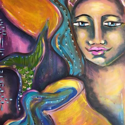 mermaid painting - artuition with gisela
