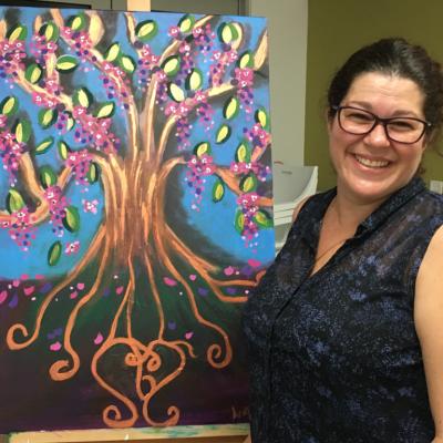 Angela painting wisdom tree